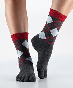 Christmas ARGYLE casual crew prstové ponožky ToeSox