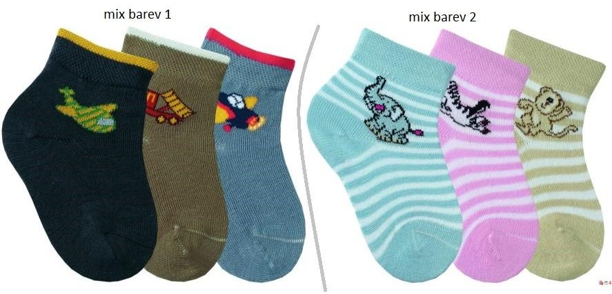 Modní chlapecké bavlněné vzorované ponožky RS