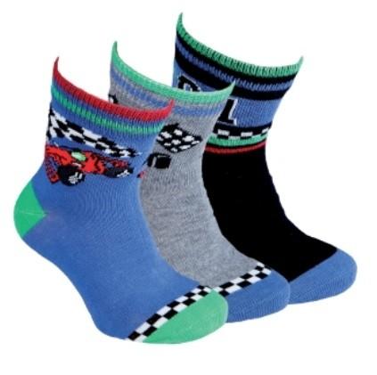 Dětské chlapecké bavlněné vzorované ponožky RS