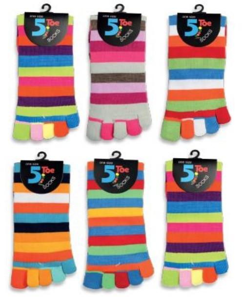 Barevné prstové ponožky - PRUHY