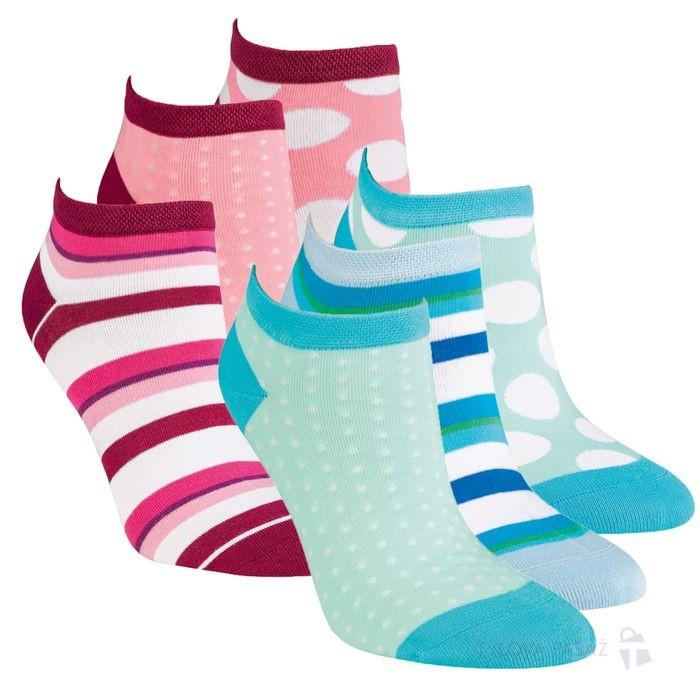 Dámské bavlněné módní vzorované sneaker ponožky RS
