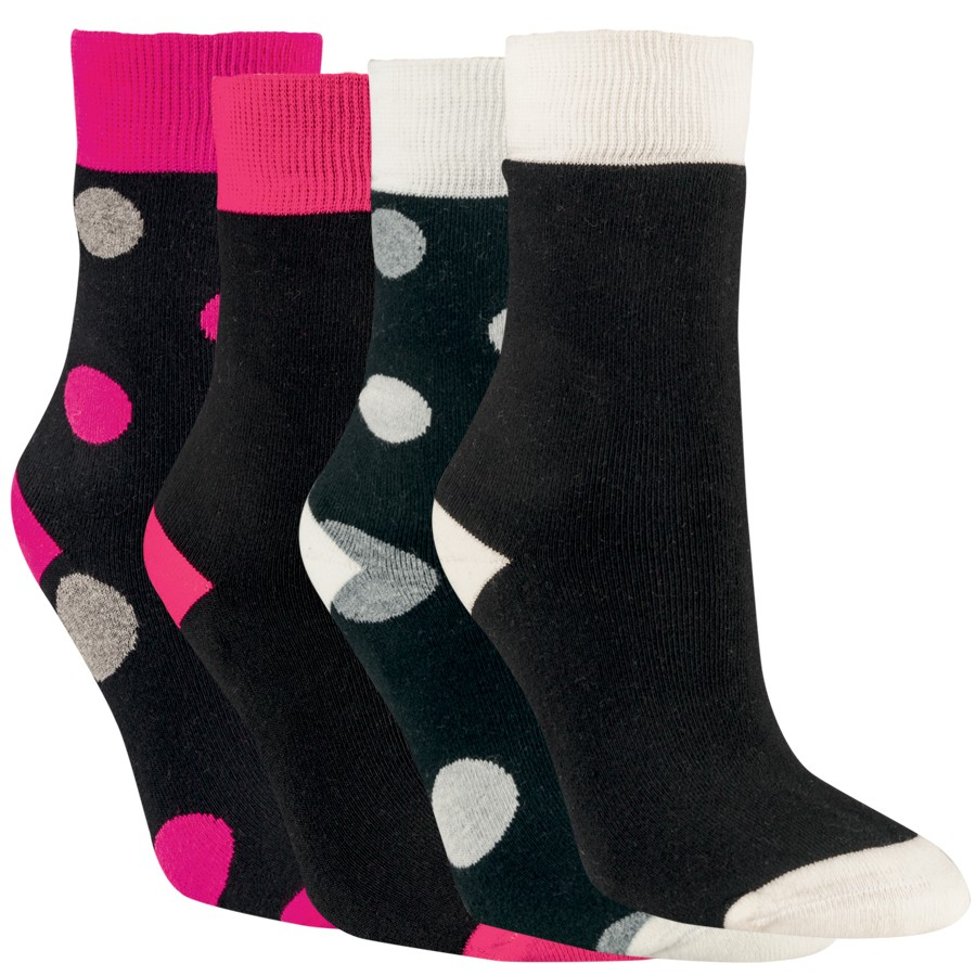 Dámské froté bavlněné vzorované ponožky RS - puntíky