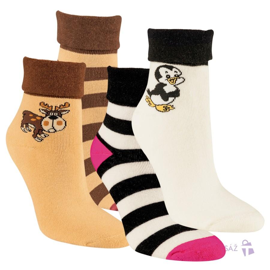 Dámské froté bavlněné vzorované ponožky RS