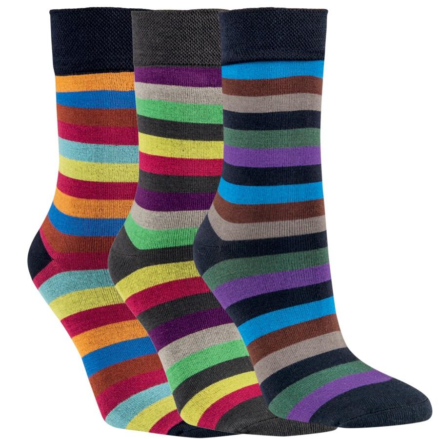 Barevné bambusové pruhované ponožky RS