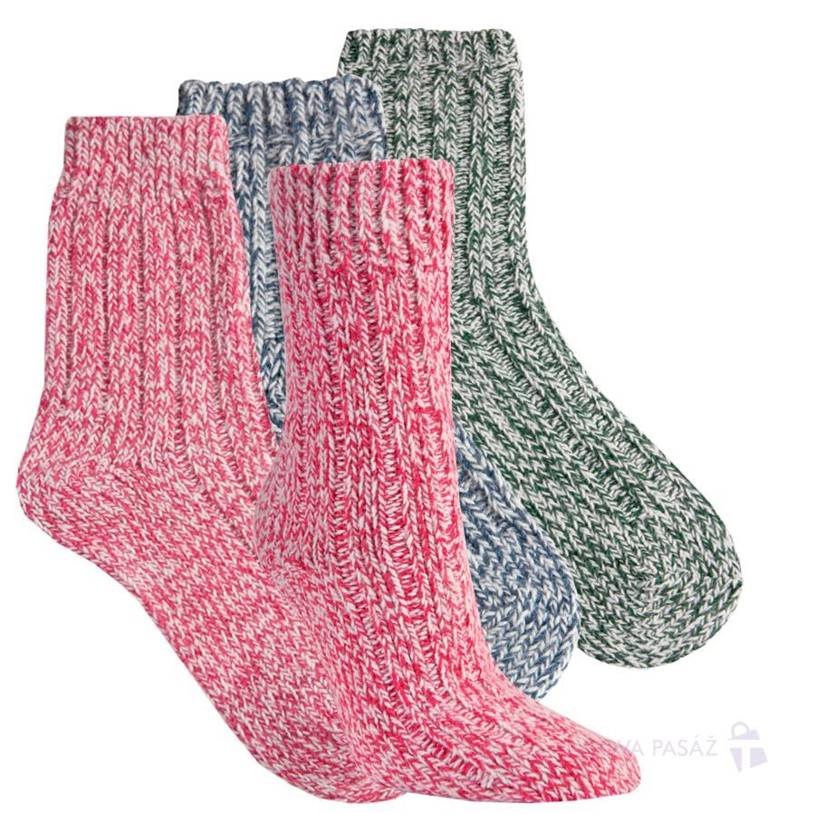 Teplé melírované dámské vlněné ponožky RS
