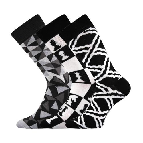 WOODOO barevné ponožky Lonka - BLACK & WHITE
