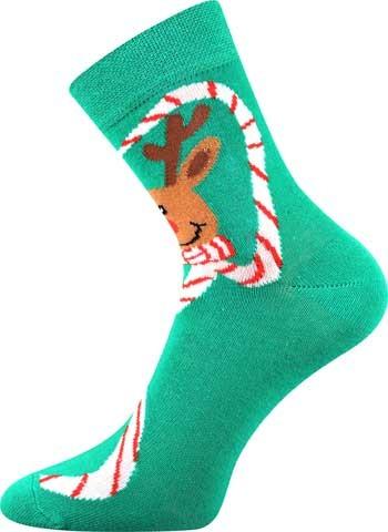 S-PATTE barevné vánoční ponožky - ZELENÝ SOB