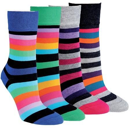Dámské barevné pruhované bavlněné ponožky RS