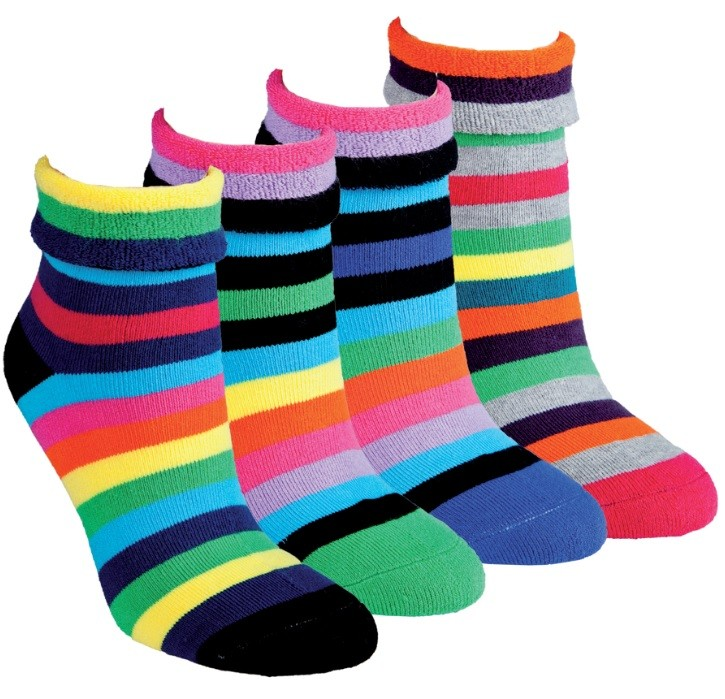 Dámské teplé pruhované ohrnovací froté ponožky RS