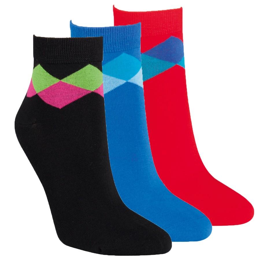Dámské kotníkové barevné vzorované ponožky RS