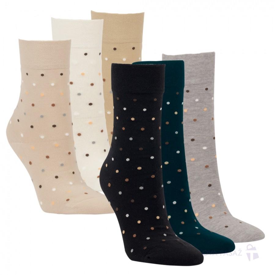 Dámské bavlněné puntíkované ponožky bez gumiček RS